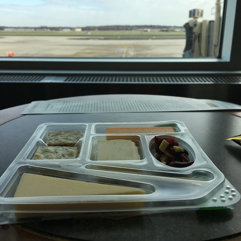 Cheese tray on airport table