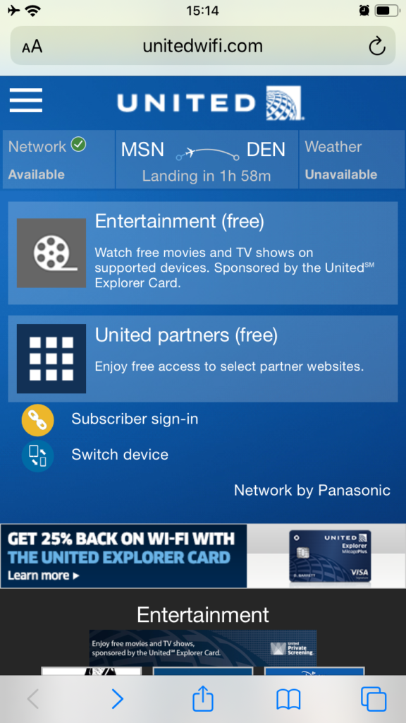 Screen grab of the inflight entertainment portal