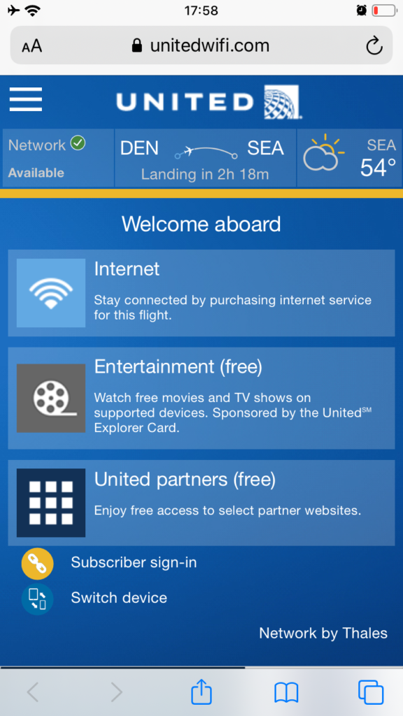 United Airlines App home screen