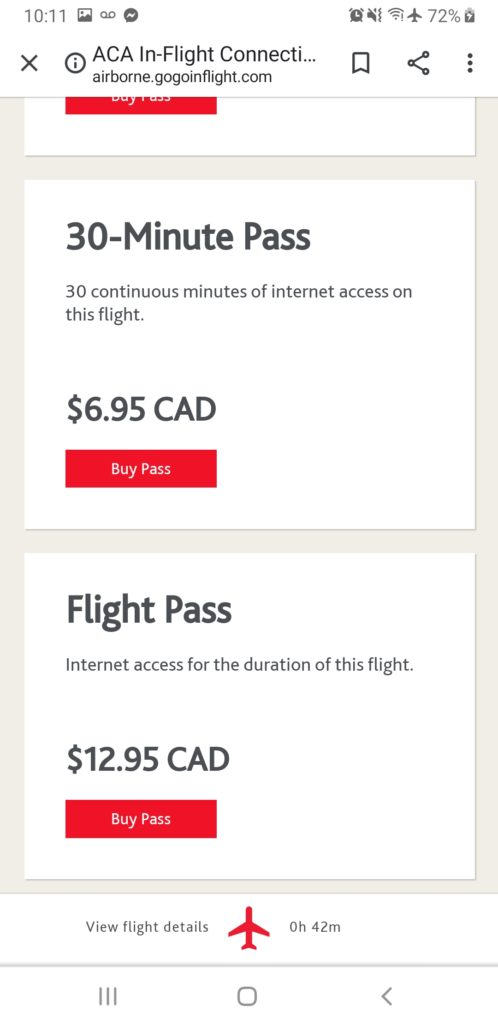 screenshot of ife tier pricing