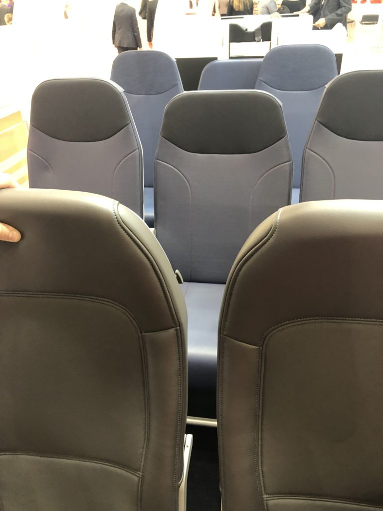 Aircraft seats up close showing the Ultraleather covers