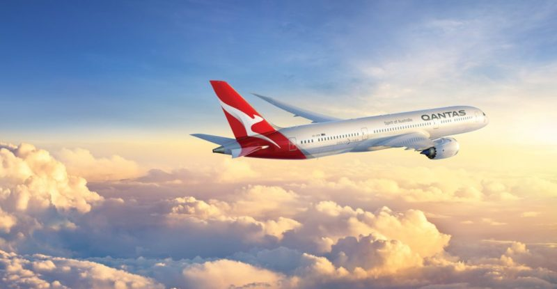 Qantas 787-9 dreamliner above the clouds