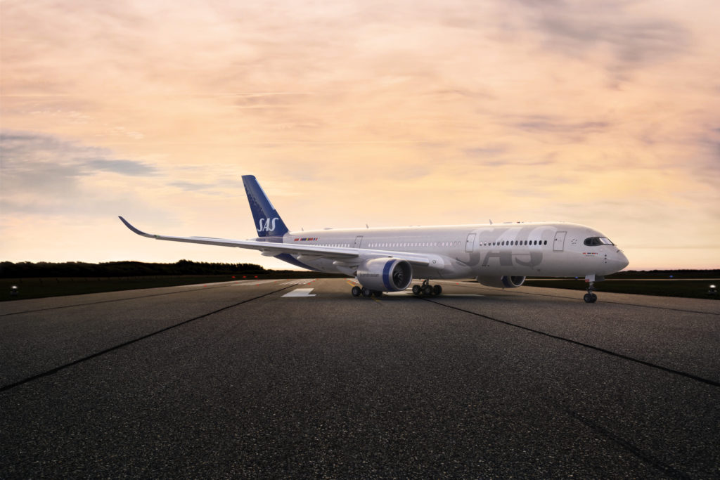 SAS A350 at sunset on the runway