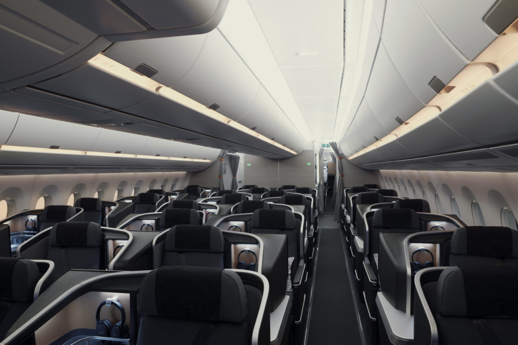 SAS business class interior cabin