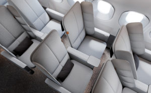 Interspace seat in a rendering of an aircraft interior