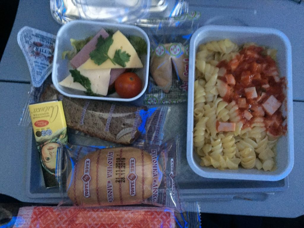 inflight meal on aircraft tray table