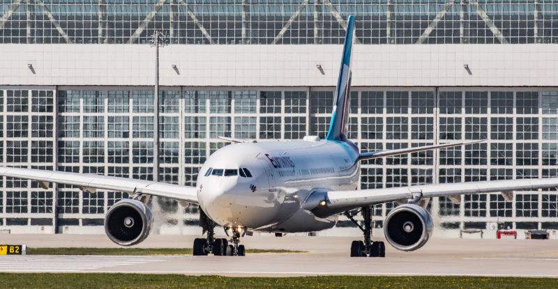Airbus A330 Eurowings gets ready for take-off at Munich Airport
