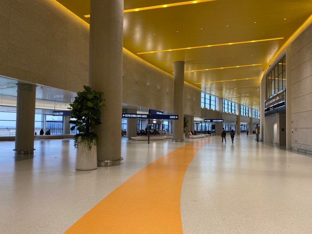 The international/regional departure level is empty with support columns contrast to the vast openness of Beijing Daxing