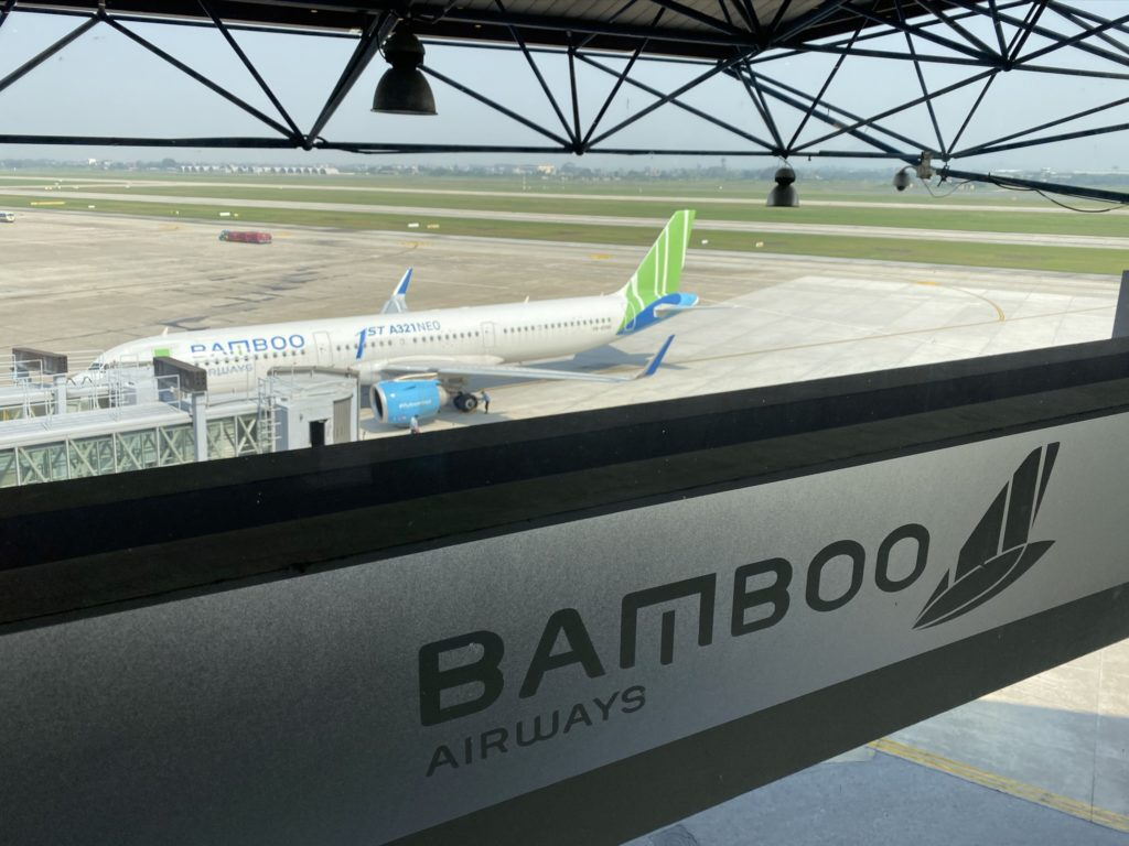 Bamboo Airways a321neo on tarmac with Bamboo Airways sign in the front