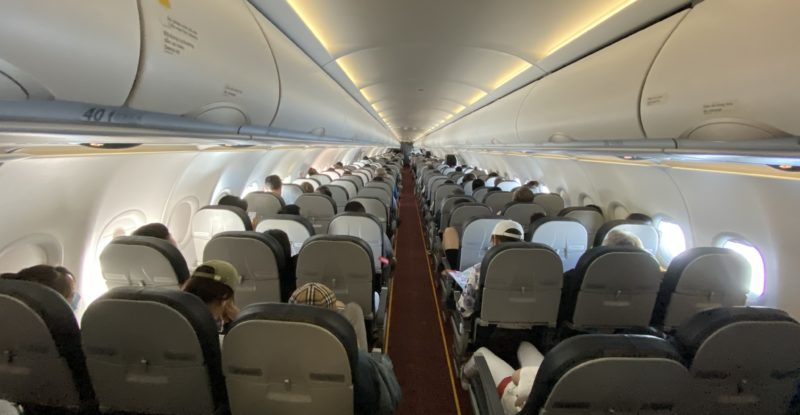 Aircraft interior from rearview