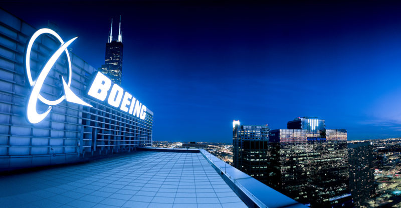 boeing building at night.