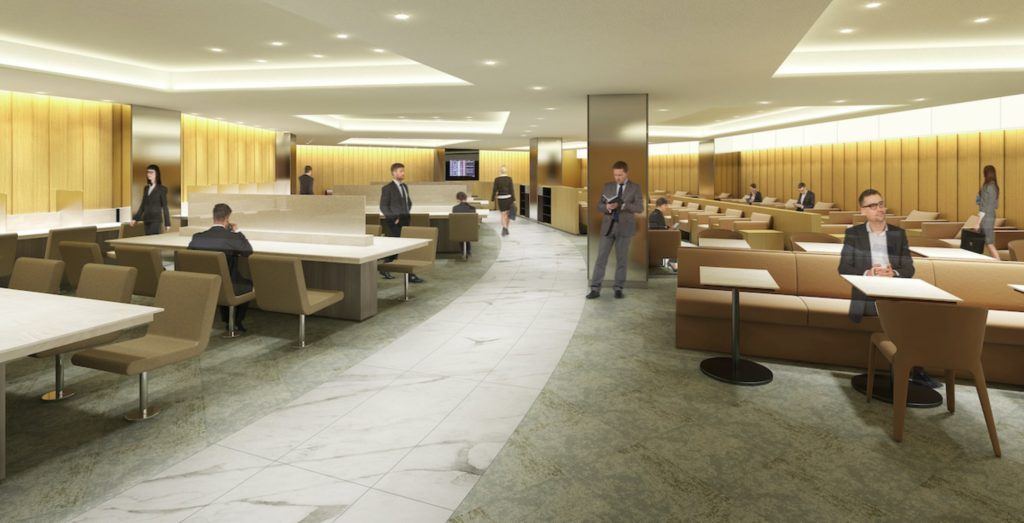 Seating areas in the ANA Lounge. The lounge is accessible