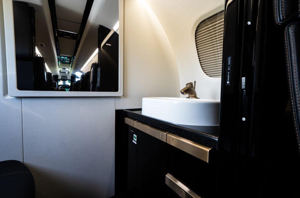 Cabin interior shot of sink in the Phenom 300
