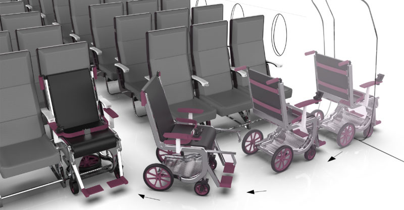 The Row 1 wheelchair system slides into the front row of economy class