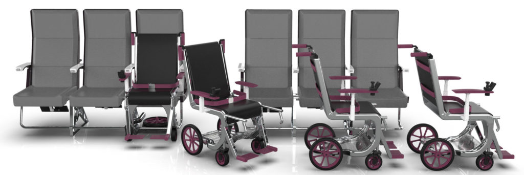 The Row 1 airport wheelchair in different stages of the process of fitting into a seat, and deplaning
