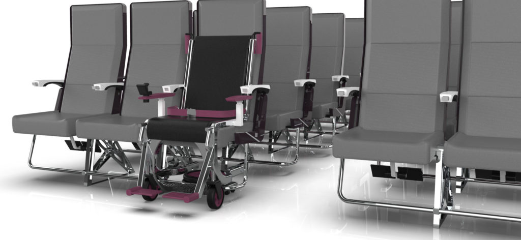 The Row 1 wheelchair device is placed in the front seat of economy class.