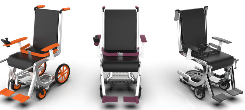 The Row 1 wheelchair system can be customized with different colors to sync with an airline's brand