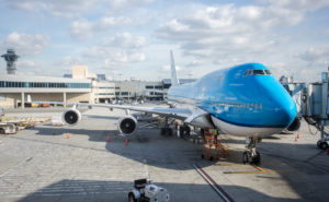 KLM 747-400 at the gate