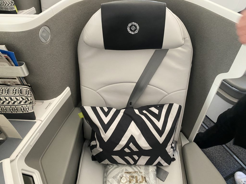 A black and white-designed pillow on the business class seat aboard Fiji Airways' A350 XWB