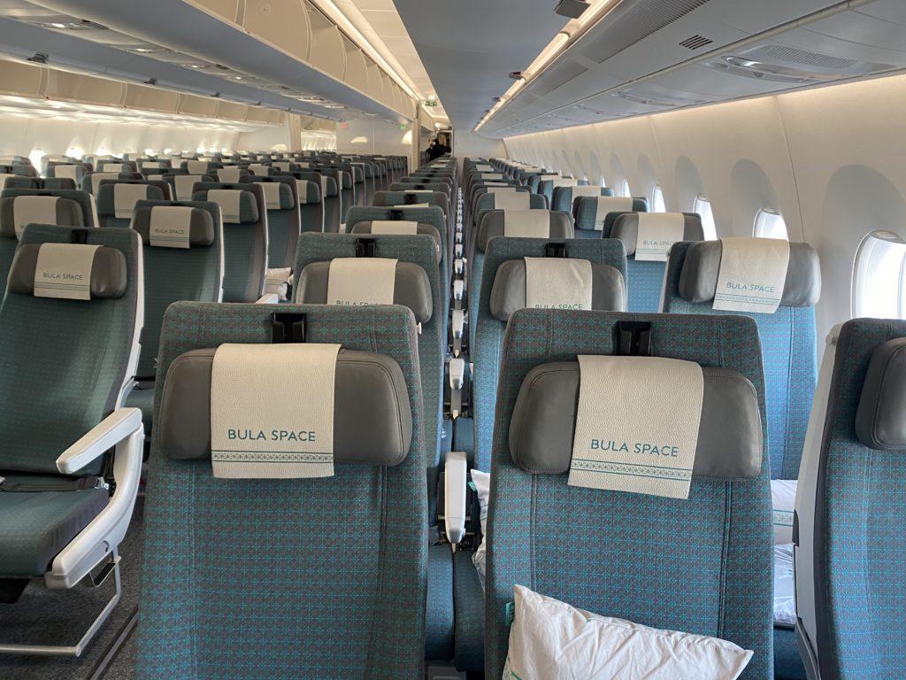 Fiji Airways' A350 XWB economy class seat showing Bula Space seats