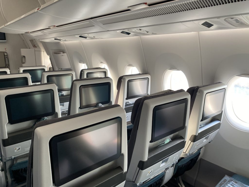 Thales seatback IFE on rows of economy seats aboard Fiji Airways' A350