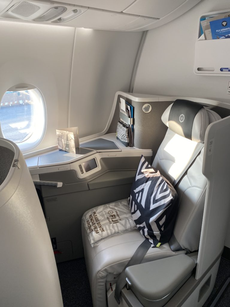 Fiji Airways A350 XWB business class seat features direct aisle access and neutral colors