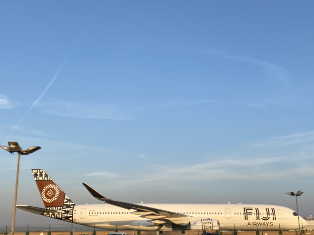An exterior photo of Fiji Airways' A350 XWB with its unique designs
