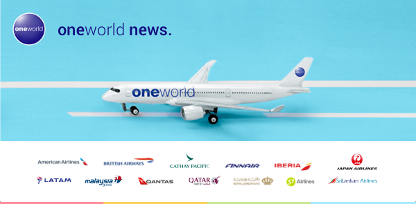 oneworld aircraft with all affilated airline logos below