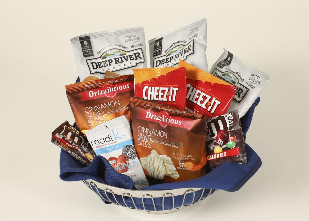 A basket of inflight kosher snacks