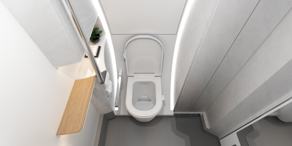 Aerial view of the Access Lavatory interior