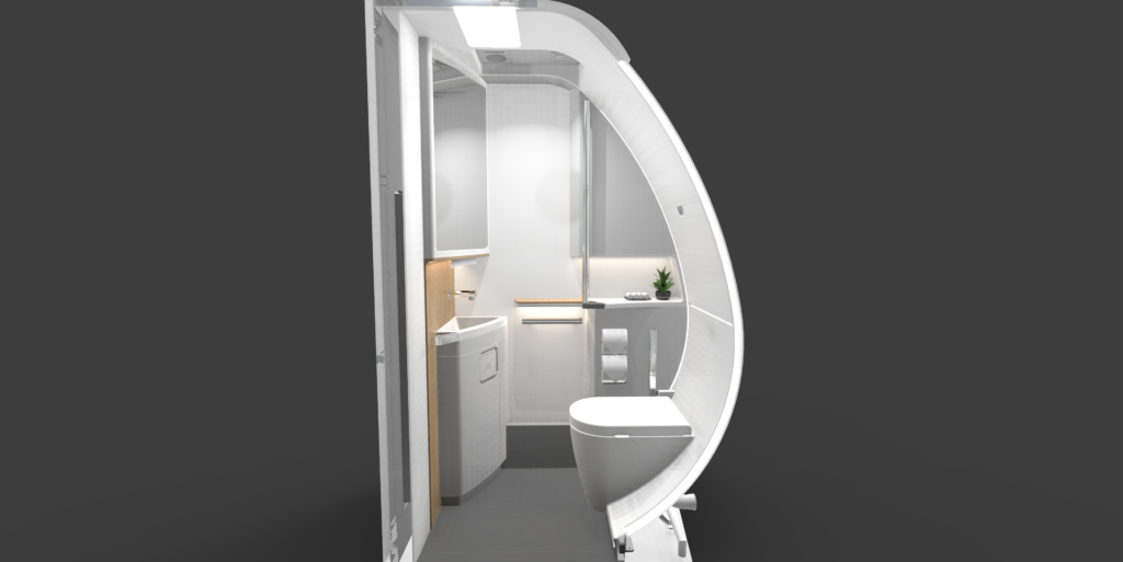 Access lavatory interior showing d shape and extra space