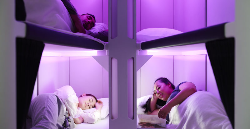 Air NZ Skynest with passengers in it