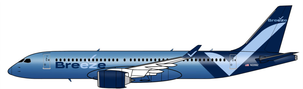 Breeze Airways' A220 rendering shows an all-blue aircraft, with a darker blue tail and a light blue check mark on the tail and aft fuse