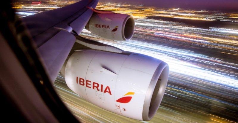 Iberia A340 engine on take-off