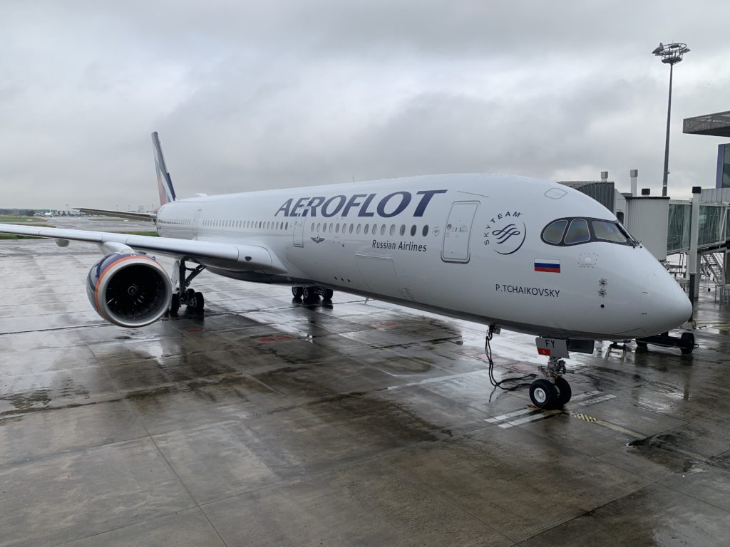 Aeroflot's A350-900 at the gate on a cloudy day