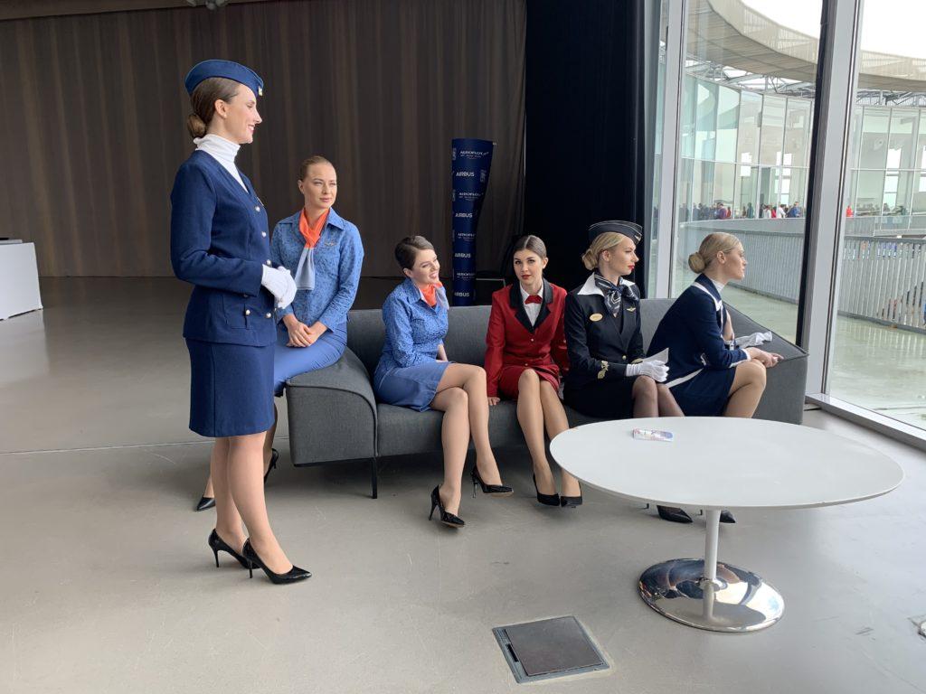 Aeroflot crew in different uniforms