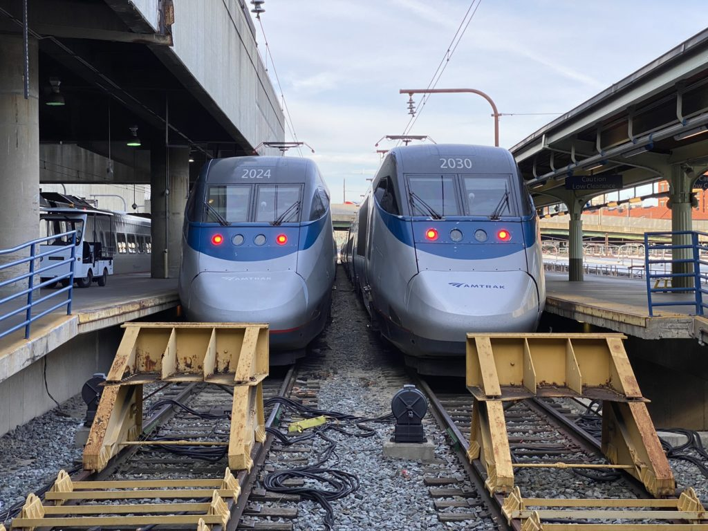 Two trains on the track