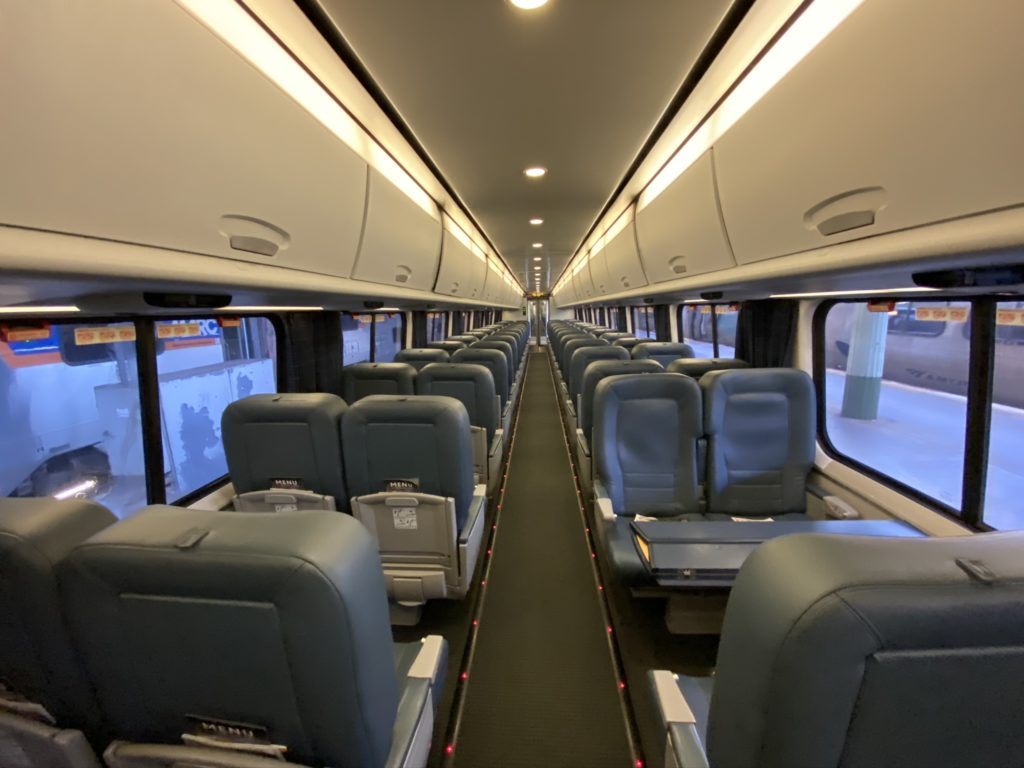 Empty train car on the Acela Nonstop service
