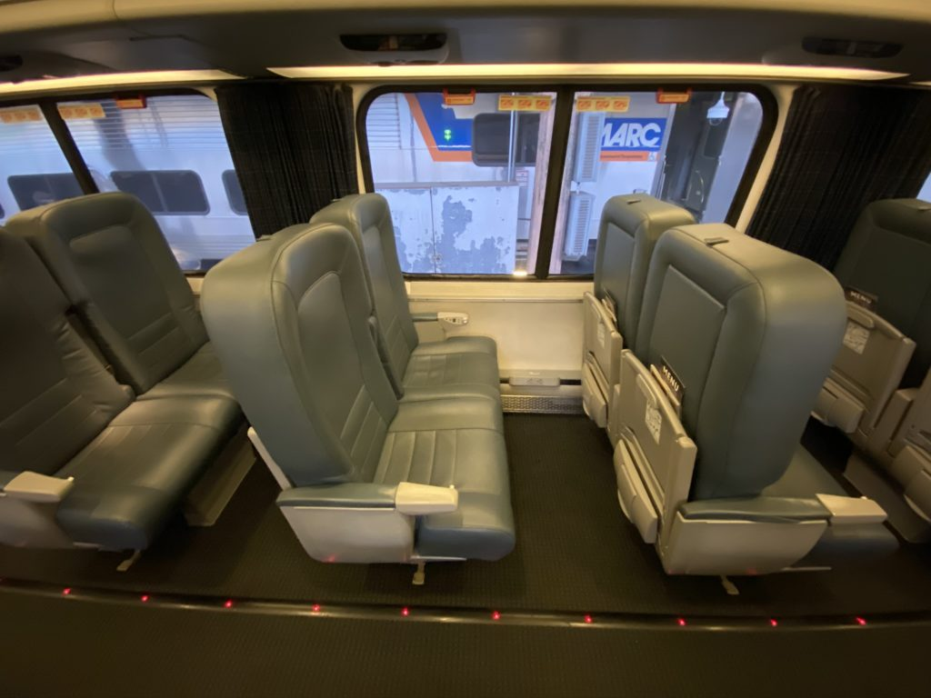 Interior of train car seating on Acela Nonstop