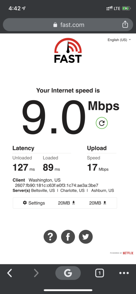 Screen grab of WiFi speed test showing 9 Mbps