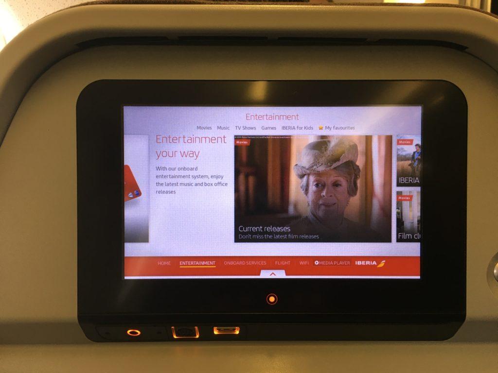 Iberia IFE Screen close up