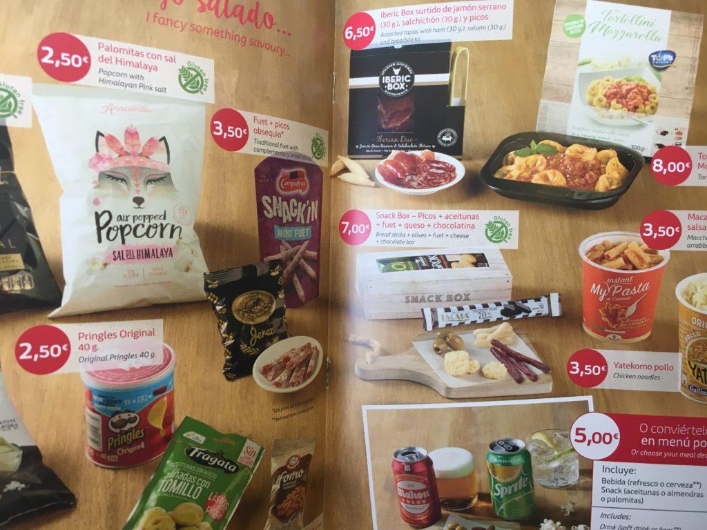 Iberia buy-on-board food menu