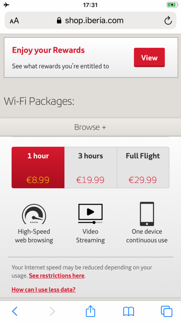 Iberia wifi packages as displayed on the Iberia portal.