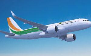 Air Côte d'Ivoire aircraft in flight