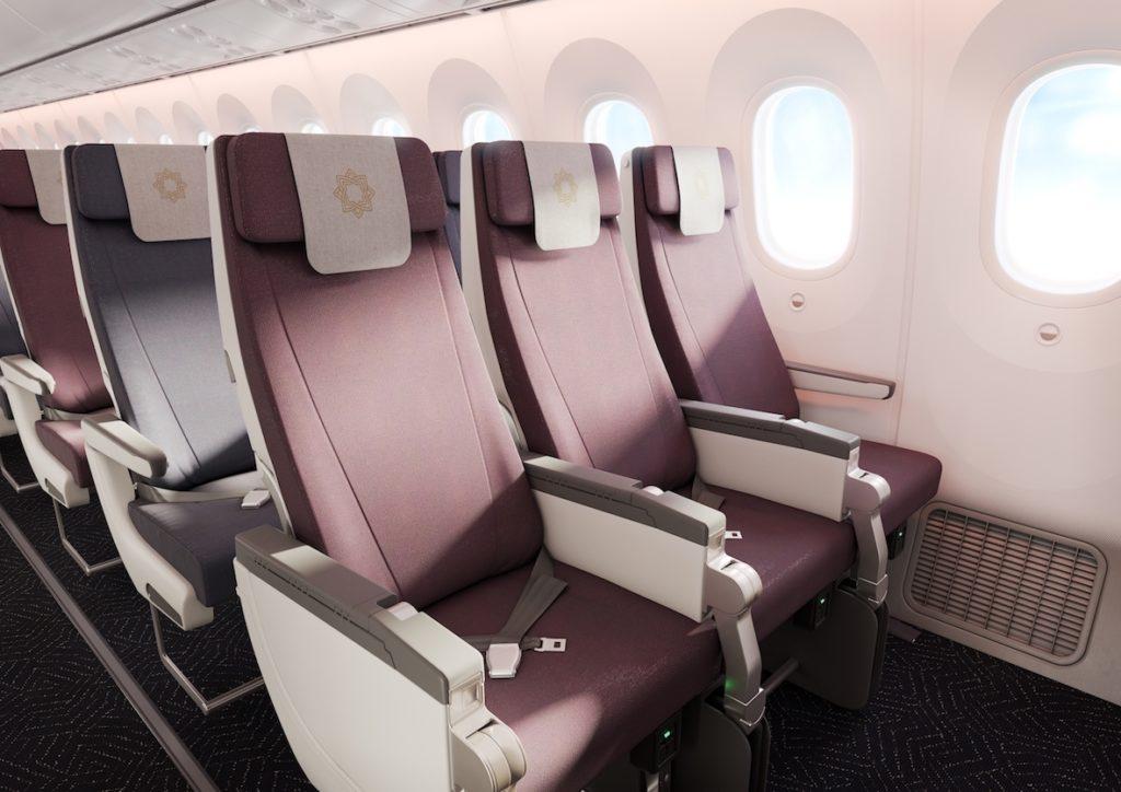 redish-brown recaro cl3170 seats on an aircarft