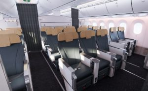 Blue recaro pl3530 seats with brown headrests on the aircraft