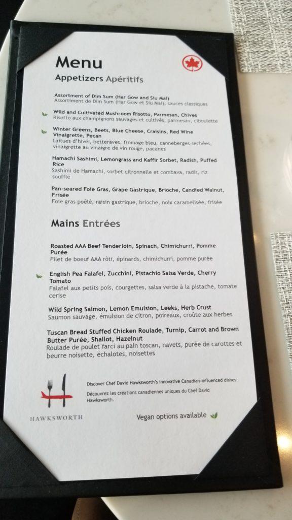 Air Canada Signature Suite a la carte menu