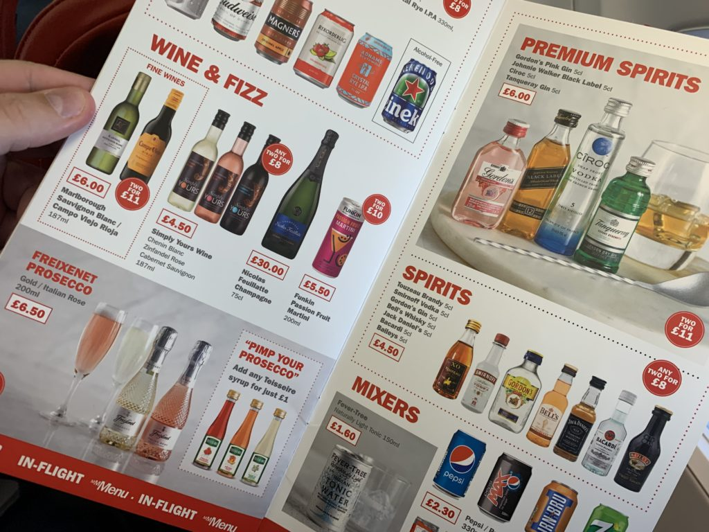Jet2's onboard menu includes a lot of options for alcoholic beverages