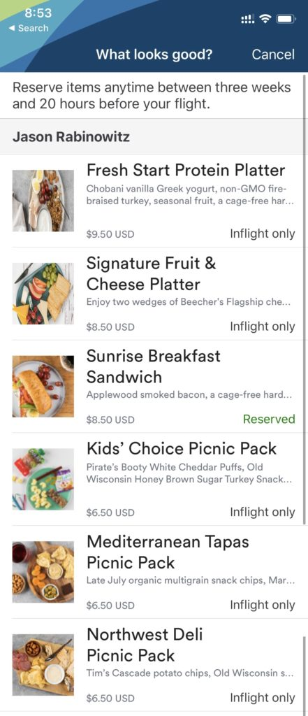 Screenshot of pre-purchase menu with the different options available including cheese platter, protein platter, and sunrise breakfast sandwich