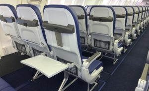 Recaro BL3530 seat from behind showing an open tray table